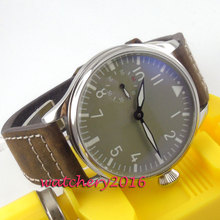 цена Parnis 44mm Grey Dial with Stainless steel Case Top Brand 17 Jewels 6497 Hand Winding Mechanical Mens wirstwatch онлайн в 2017 году