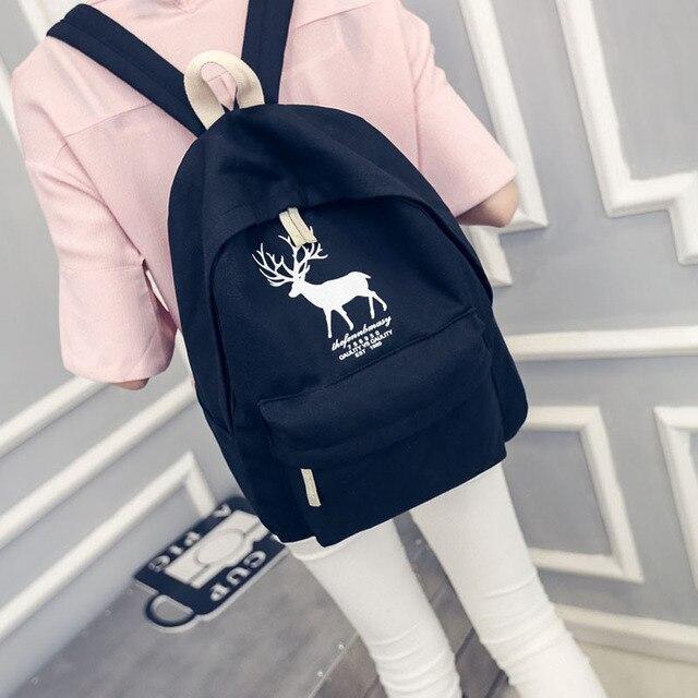 843eb83d91e Милый мультфильм холст рюкзак свежий олень шаблон школьный рюкзак для  девочек ...