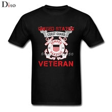 Coast Guard Veteran T Shirt Men Male Demin Short Sleeve Cotton Custom Big Size Party  T-shirts