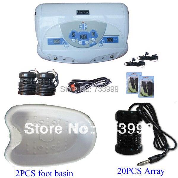 Dual Detox Foot Spa Machine with MP3 player+ 20 pcs Arrays + 2 pcs foot basin,a foot massager detox through feet free shipping