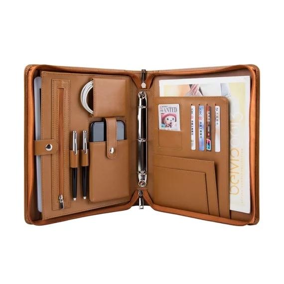 ILooker 3 Ring Binder Genuine Leather Portfolio; Tablets