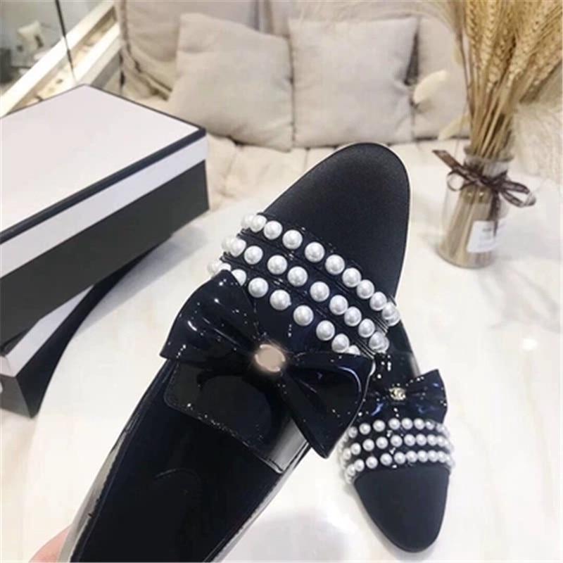 Designer De Appartements Marque white Luxe Confortable Black En Femmes Véritable Vraiment D'origine Perle Chaussures Cc Fashional Cuir rxFfPrq