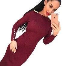 2017 модная обувь под вечернее платье Для женщин Sexy оболочка облегающее трикотажное платье миди с длинными рукавами Вышивка Крестом Пакет бедра платье vestidos S-XL lj7338e