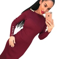 2017 Party Dress Fashion Sexy Bodycon Knitted Midi Dress Solid Long Sleeve Package Hip Dress Vestidos