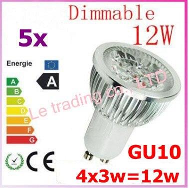 5pcs Dimmable GU10 4X3W 12W 4-CREE LEDS Led Lamp Spotlight 85V-265V Led Light downlight High Power free shipping