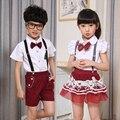 Niña de la escuela de verano uniforme escolar uniformes Kindergarten del algodón del verano del vestido servicio de clase traje corto trajes servicio coral