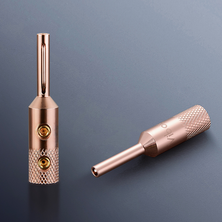 4PCS Viborg VB401 High Quality Pure Red Copper Banana Connector Terminal Plug Connector 4MM For  Speaker Wire
