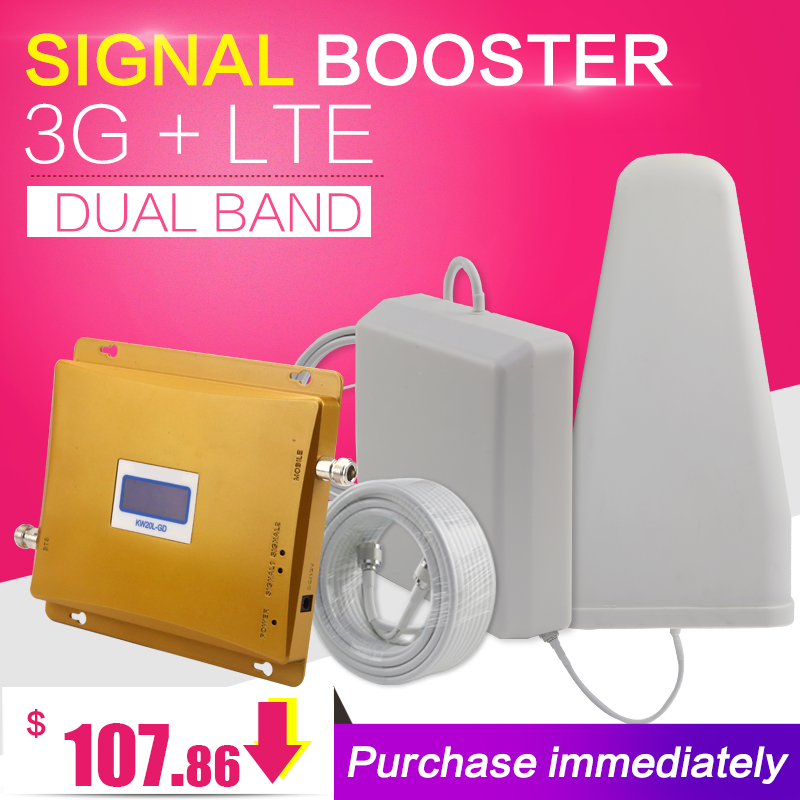 3G WCDMA 2100 4G LTE 2600 Cellular Signal Booster Amplifier Outdoor Antenna 3G 4G Dual Band Repeater Set LCD Display3G WCDMA 2100 4G LTE 2600 Cellular Signal Booster Amplifier Outdoor Antenna 3G 4G Dual Band Repeater Set LCD Display
