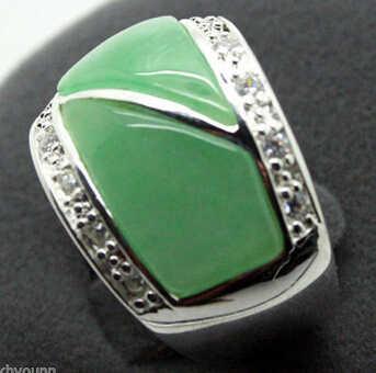 Ddh0157ชายและหญิงของเครื่องประดับจริงๆธรรมชาติสีเขียวแหวนขนาด: 7-10 #สามารถเลือก