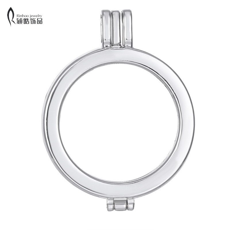 No Glass My Coin Necklace 33mm Open Fashion Women 35mm Coin Holder Coins DIY Pendant Necklace Smooth Frame Lockets 3 Colors