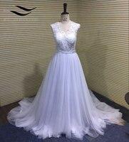 Cheap A Line Beach Wedding Dress 2017 White Ivory Elegant Long Wedding Dress Chiffon Bridal Dress