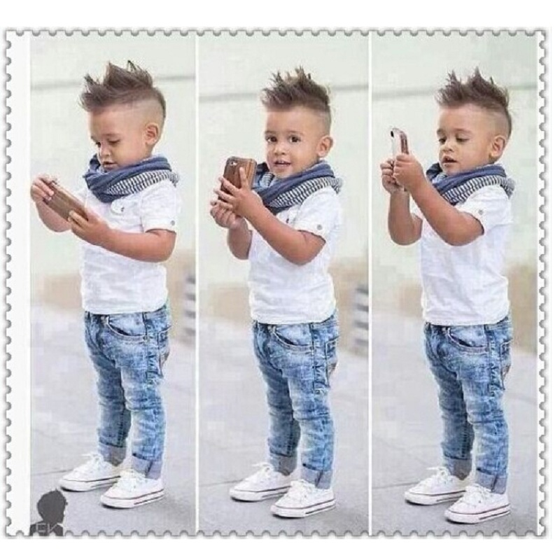 Casual Boys Clothes Suits Children Short Shirt Jean Scarf Sets Kids White Shirts Trouser Baby Boys Outfits Stripe Neckerchief