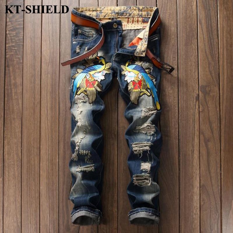 ФОТО Ripped Men Denim Jeans Designer Fashion Male Jeans Pants Distressed Men Streetwear Jean Trousers Cotton Homme Pantalones