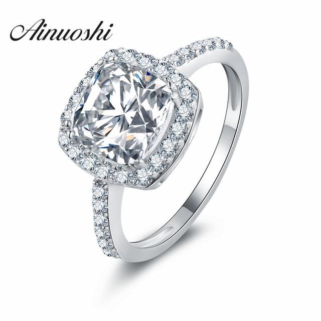 AINOUSHI 2 Carat Cushion Halo Ring Engagement Wedding Rings 925 Sterling  Silver Rings Finger Lab Created