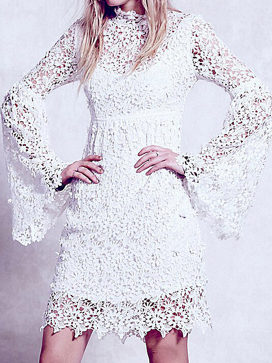 Nextshe Black Long Sleeve Sweetheart Combined Lace A Line Dress Lacy