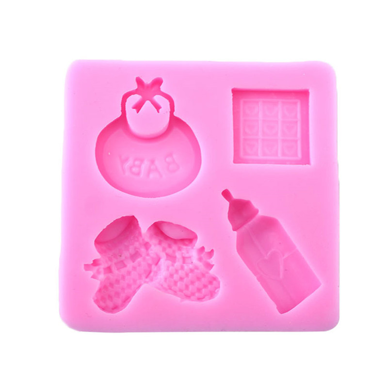 DIY Lovely Baby Care Series Silicone Soap Mold Baby Bottle Shape Silicone Moulds Mousse Cake Decorating Tools
