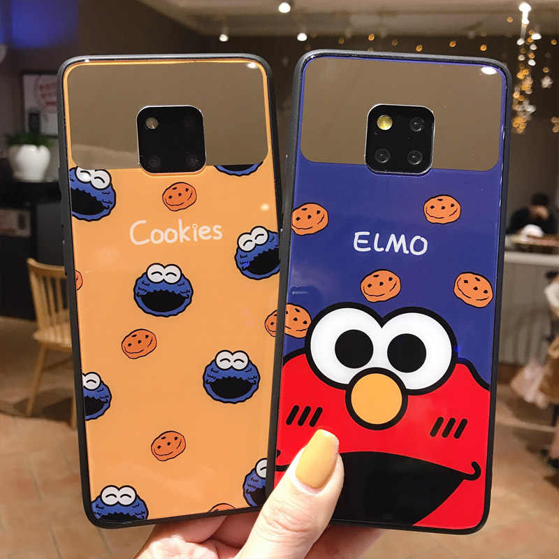 Elmo Cookie Monsters Puppet Case For Huawei P10 P20 Plus Couple Makeup Mirror Silicone Covers For Huawei Mate 10 Mate 20 Pro 20X
