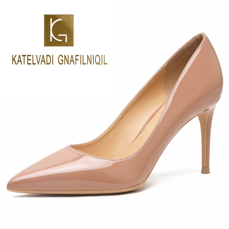 KATELVADI Wedding Shoes High Heels Women Pumps Nude Patent Leather Fashion Ladies Shoes 8CM Thin Heel