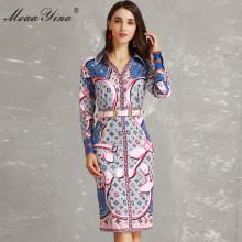 MoaaYina Designer Runway Spring Women Long sleeve V-neck Stripe Dot Print Belt Dress