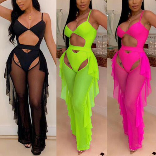 Women Spaghetti Strap Solid Bodysuit Playsuit + Ruffled Mesh Pants Set Female Summer Beach Casual Fashion Set Outfits