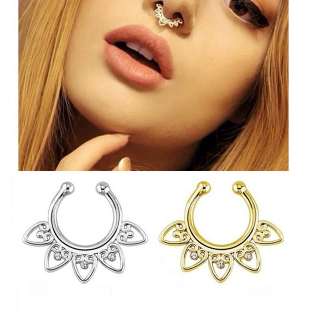 1PCS New Cool Body Piercing Jewelry Alloy Heart Nose Hoop Nose ...