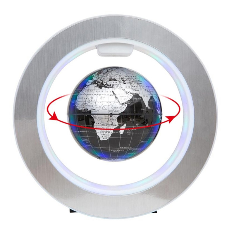 Magnetic Levitation Floating World Map with LED Light Lamp Globe Circular Shape Base Anti Gravity for Home Office New