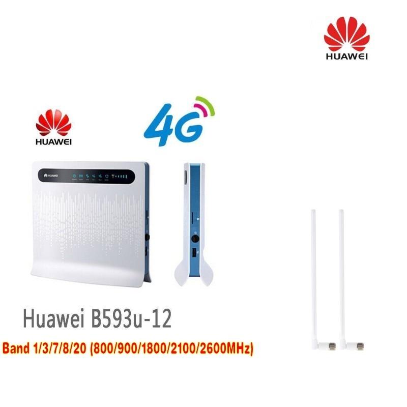 Huawei B593u-12 Unlocked 4G LTE CPE Industrial WiFi Router (T logo) plus 2pcs B593 Antenna