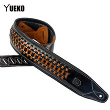 YUEKO Black High-quality Guitar Strap Hand-knit For Electric Bass and Belt Width 8 cm