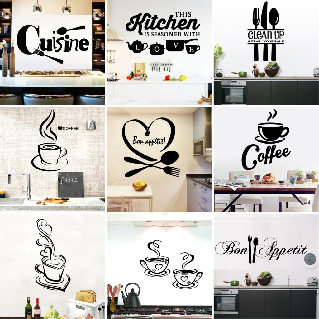 Large Kitchen Wall Sticker Cuisine Coffee Vinyl Stickers Poster House Decoration Accessories Mural Decor Wallpaper Wallstickers(China)