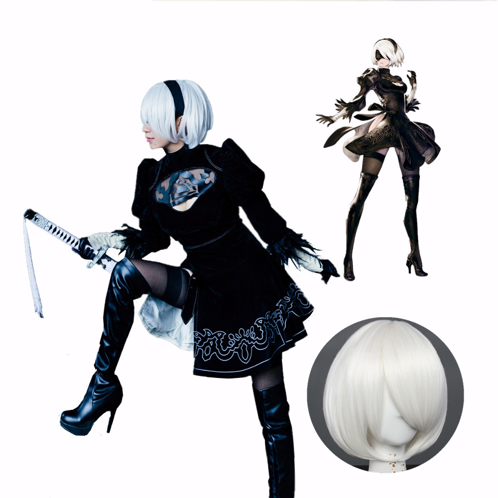 NieR Automata  Cosplay Costumes YoRHa No. 2 Type B Cosplay Costume 2B Dress And Wig Custom Made Size