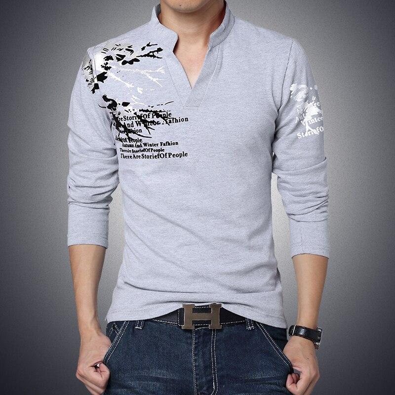 Belle Nouveau Hommes Polo Marque De Mode Imprimé À Manches Longues Qualité Coton Chemise Mâle Respirant Slim Fit Mens Polos Plus m-7XL
