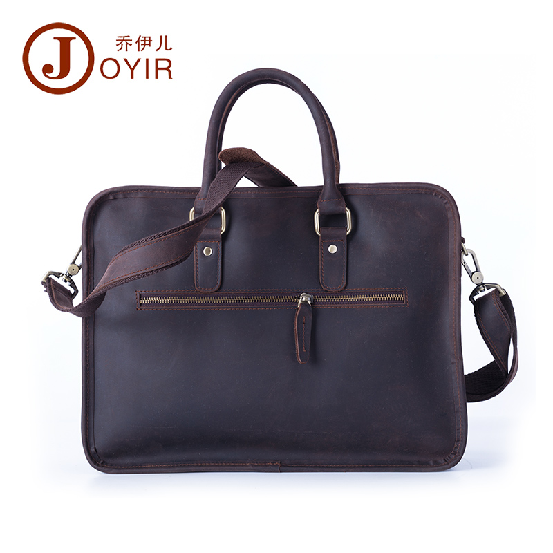 Dress Crazy Horse Leather Briefcases Men's Briefcase Male Shoulder Bag Leather Laptop Bag  Men Executive Briefcase Men's Bag