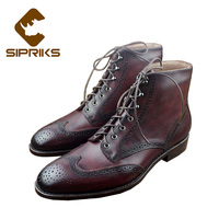 Sipriks mens patina brogues boots burgundy wingtip dress boots classic american work ankle boots luxury goodyear welted shoes