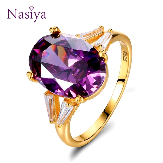 925 Sterling Silver Rings for Women Solitaire Big Natural Oval Amethyst Purple W