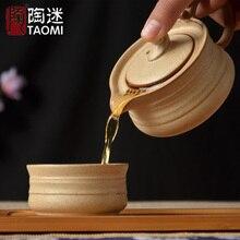 [GROßARTIGKEIT] tee-set Enthalten 1 Topf 1 Teetasse reise tee-set tragbare vintage groben keramik topf tasse japanischen stil teekanne keramik