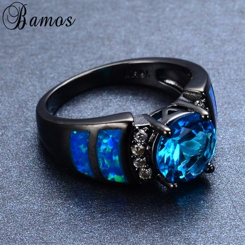 Bamos Unique Blue Fire Opal Rings For Women Men Black Gold Filled Wedding Party Light Blue Zircon Ring Best Friend Gift RB0272 Islamabad