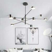 현대 LED 샹들리에 거실 중단 램프 로프트 luminaires 북유럽 식당 철 간단한 매달려 조명기구