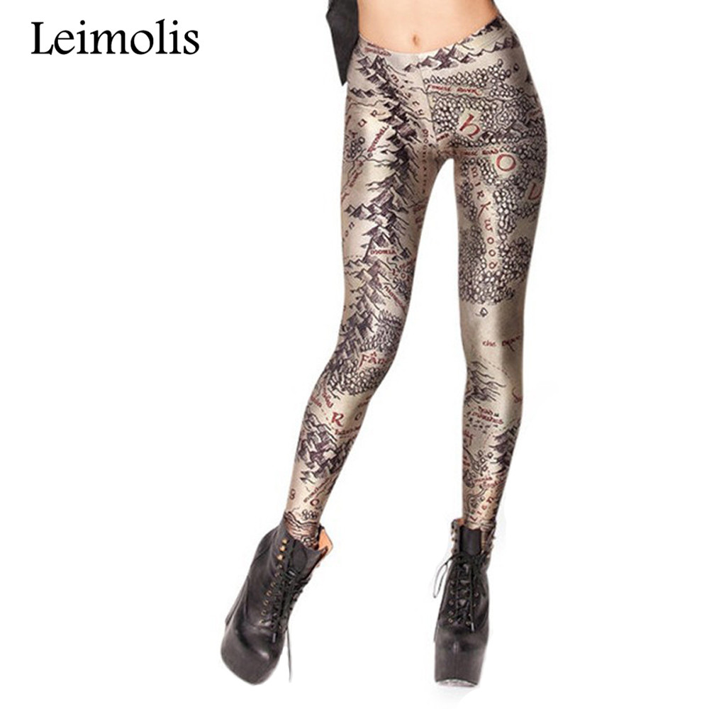Leimolis 3D Printed Fitness Push Up Workout Leggings Women Gothic Treasure Map Plus Size High Waist Punk Rock Pants
