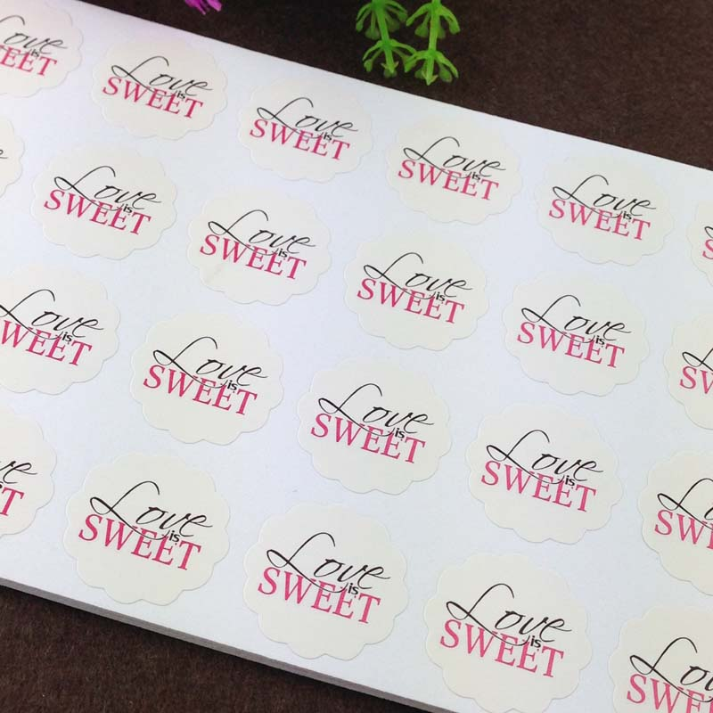 1200PCS/Lot 3cm printingLUVE SWEETlace paper Adhesive Labels sealing Stickers packaging For Jewelry/Box/gift/car/envelope