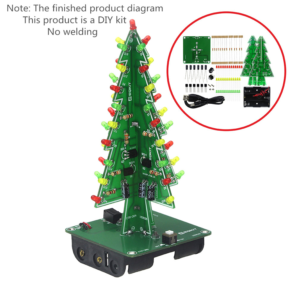 7 Colors 3d Christmas Tree Led Flash Diy Kit Three Dimensional How Lights Switch And Circuit Work Dreidimensionale Weihnachten Baum Rot Grn Gelb Blitz Schaltung
