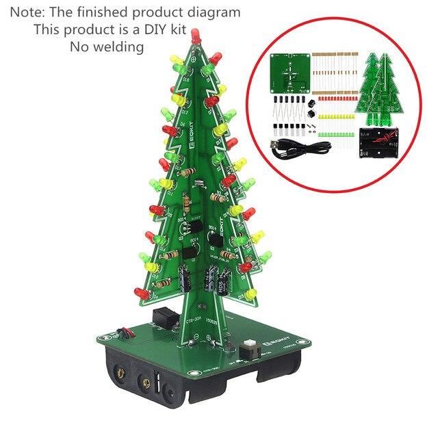 Three-Dimensional 3D Christmas Tree LED DIY Kit Red/Green/Yellow LED Flash Circuit Kit Electronic Fun Suite