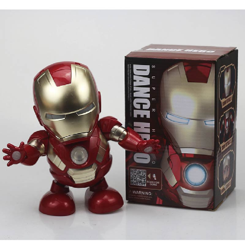 LED Lights Dancing Iron Man Avengers Endgame Super Hero Music Action Figure Popular Toys Electric Toys