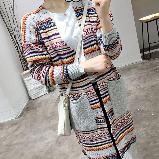 Nuevo Invierno Abrigos Suéter A Rayas Cardigan Un Tamaño Suéter de Las Mujeres 2016