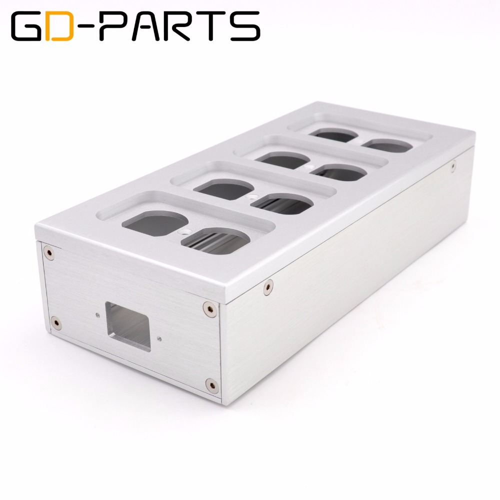GD-PARTS 8 Holes Full Aluminum Electrical Outlet Chassis US Power Receptacle Power Socket Enclosure Box Case Hifi Audio DIY 1PC nobsound hi end audio noise power filter ac line conditioner power purifier universal sockets full aluminum chassis