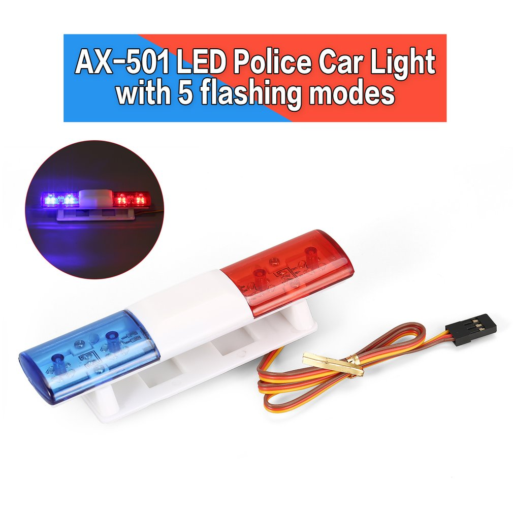 AX-501 Multi-fonction Rotation Clignotant LED Police RC Voiture Lumières Lampe pour 1/10 1/8 HSP Traxxas TAMIYA CC01 Axial SCX10 D90