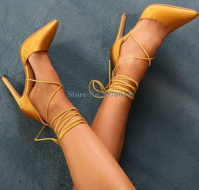 New Pointed Toe Lace Up Thin High Heel Pumps Yellow Blue Black Cross Tied Stiletto Heel Pumps Elegant Basic Ladies Dress ShoesNew Pointed Toe Lace Up Thin High Heel Pumps Yellow Blue Black Cross Tied Stiletto Heel Pumps Elegant Basic Ladies Dress Shoes