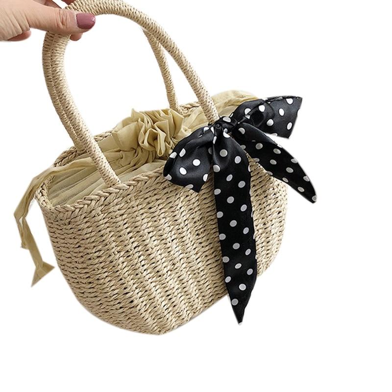 JHD-Women Straw Bag Retro Casual Summer Beach Hand-Woven Handbags Handle Tote Rattan Bag