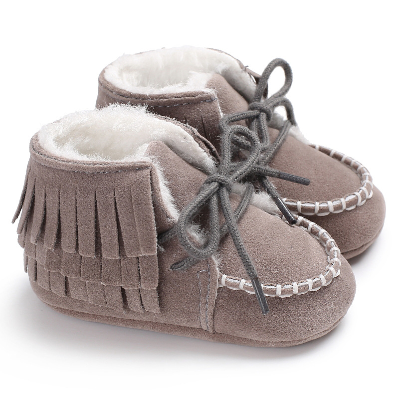 Raise Young Flock Winter Plus Velvet Warm Baby Snow Boots Soft Soles Toddler Girl Moccasins Newborn Infant Boy Shoes 0-18M