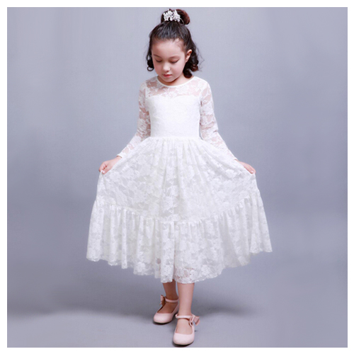 White Sweet Princess Wind Hollow Rose Lace Long Sleeves Ribbon Bow Dress Lace Ankle-Length pink lace up design cold shoulder long sleeves hoodie dress