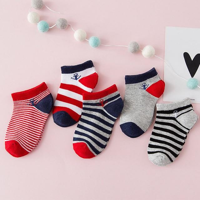 5 par/lote niños calcetines de algodón ancla rayas NIÑOS Calcetines elásticos bebé niño Casual Calcetines Niño deporte corto calcetín 1-9Y